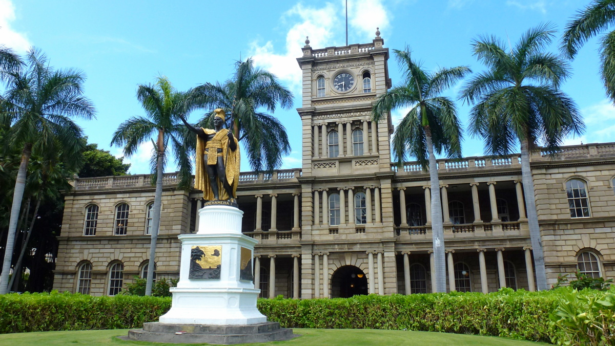 Statue of King Kamehameha, whose birthday is celebrated as one of a number of Hawaian holidays.