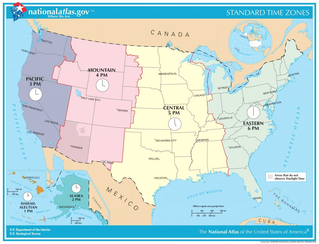 Hawaii time zone compared to the rest of the US.