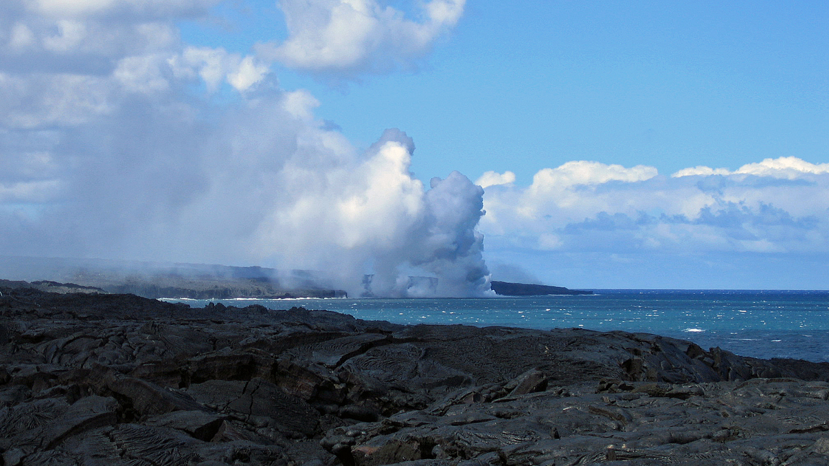 Lava from Kilauea flowing to the sea